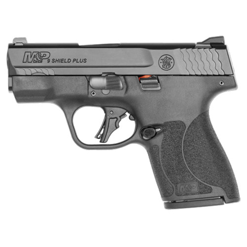 """Smith & Wesson, Shield Plus, Striker Fired, Micro Compact, 9mm, 3.1"""" Barrel, 10 lbs Trigger Pull, No Thumb Safety, White Dot Sights, Polymer Frame, Flat Face Trigger, 2 Mags, 2-10Rd, Black"""
