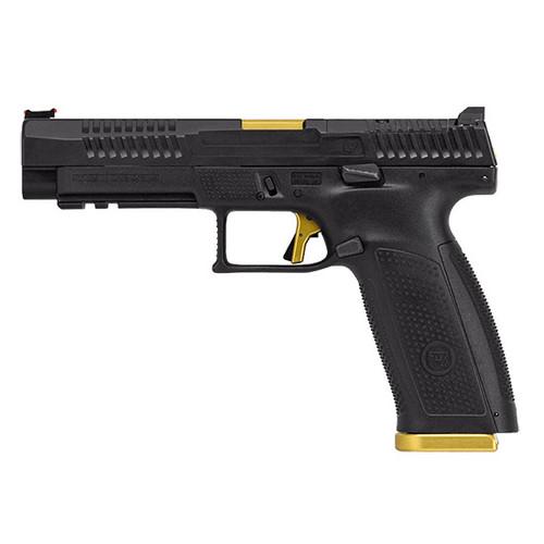 "CZ P-10 F Competition-Ready 9mm, 5"" Barrel, Optics Ready/FO Sights, Gold/Black, 19rd"
