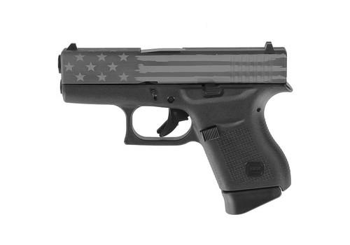 "Glock 43 USA 9mm, 3.26"" Barrel, Fixed Sights, Titanium Battle Flag Slide, 6rd"
