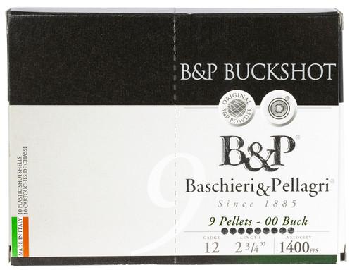 """Fiocchi B&P Buckshot 12 Ga, 2.75"""" Shells, 1 1/5 oz, 00 Buck, 10rd Box"""