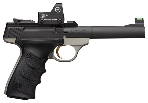 "Browning, Buck Mark Plus Practical, 22 LR, 5.5"" Barrel, Blued, Matte Gray Finish, URX Grip, Adjustable Rear Sight & Fiber Optic Front Sight, 10Rd, 2 Mags, Crimson Trace Sight"