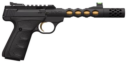 """Browning Buck Mark Plus Vision, 22 LR, 5.875"""" Skeletonized Barrel, Threaded, Compensator, Gold Cerakote Barrel, Black Finish, Fiber Optic Sights"""