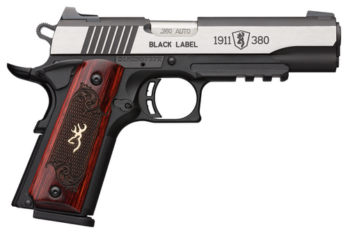 """Browning, 1911-380, Black Label Medallion Pro, 380 ACP, 4.25"""" Barrel, Black and Silver Two-Tone Color, Matte Finish, Composite Frame, Ambi Safety, Laminate Grips, White 3 Dot Sights, 8rd Mags"""