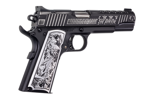 """Auto Ordnance, 1911, United We Stand Special Edition 1911, Full Size, 45 ACP, 5"""" Barrel, Black Armor Cerakoted Stainless Steel Frame/Slide, Aluminum Engraved Grips"""