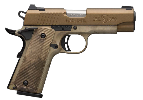 """Browning, 1911-380, Black Label Speed, Semi-automatic, 380 ACP, 3.63"""" Barrel, Burnt Bronze Cerakote Finish, Polymer Frame, Right Hand, A-TACS AU Camo Composite Grips, Ambidextrous Safety, White 3 Dot Sights, 8rd Mag"""