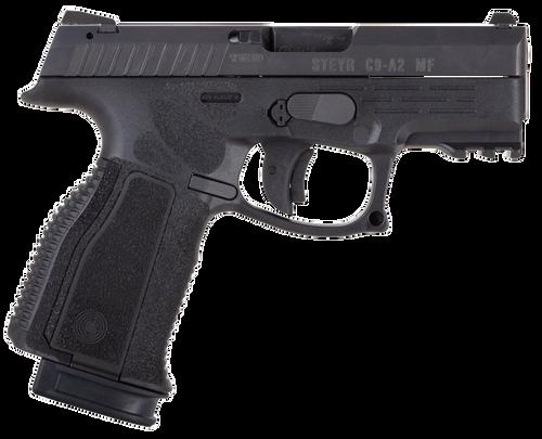 "Steyr C9-A2 MF 9mm Double 3.80"" 17rd Black Interchangeable Backstrap Grip Black Polymer Frame Black Slide"