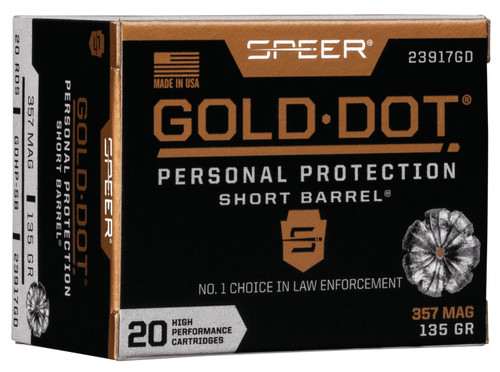 Speer Gold Dot Personal Protection .357 Mag, 135gr, Hollow Point Short Barrel, 20rd Box