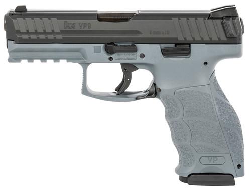 """HK VP9 9mm, 4"""" Barrel, 3-Dot Sights, Gray, 17rd"""