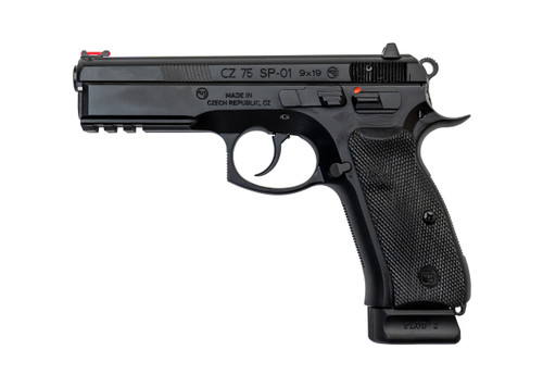 """CZ 75 SP-01 9mm, 4.6"""" Barrel, Red FO Front, Thumb Safety Only, Black, 18rd"""