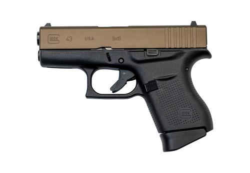"Glock 43 USA 9mm, 3.46"" Barrel, Fixed Sights, Burnt Bronze/Black, 6rd"