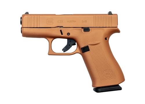 """Glock 43X AUS 9mm, 3.41"""" Barrel, Fixed Sights, Copper, 10rd"""