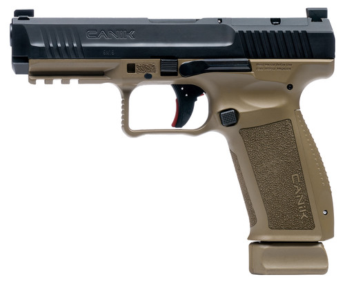 "Canik TP9SFx Mete 9mm, 5.2"" Barrel, 3-Dot Sights, Black/FDE, 20rd"