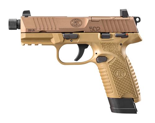 """FN 502 Tactical .22 LR, 4.6"""" TB, MTS, Suppressor Sights, FDE, 15rd"""