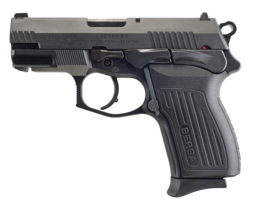 "Bersa TPRC Compact 9mm, 3.25"" Barrel, 3-Dot Sights, Decocker, Black, 13rd"