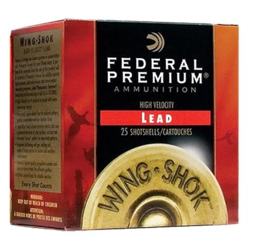 "Federal Premium Wing-Shok High Velocity Lead 12 Ga, 2.75"", 1-3/8oz, 6 Shot, 25rd/Box"
