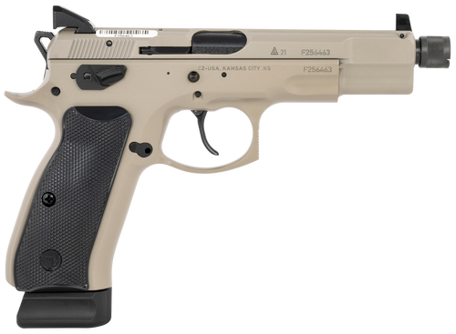 "CZ 75 B 9mm, 5.21"" Barrel, Urban Gray, Black Grip, Suppressor High 3-Dot Tritium, 18rd"