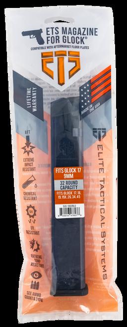 ETS Glock G19, G26, G18, G17, G19X, G34, & G45 9mm Extended Mag, Blue Tint Polymer, Gen 2 Floor Plate, 32rd