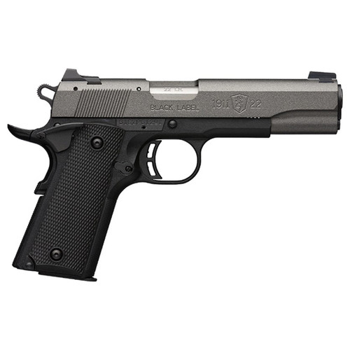 "Browning 1911-22 Black Label, 22 LR, 4.25"", Matte Black Tungsten Gray Cerakote, Aluminum Slide, Black Polymer Grip, 3-Dot Steel Sights, 10+1"