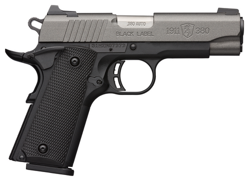 """Browning, 1911-380, Black Label Pro 1911, 380 ACP, 4.25"""" Barrel, Black and Tungsten Two-Tone, Ambidextrous Safety, 3 Dot Sights, 8rnd Mags"""