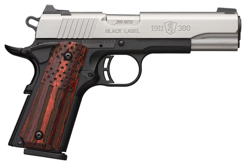"""Browning, 1911-380, Black Label Pro, Compact 1911, 380 ACP, 3.625"""" BBL, Black and Stainless Two-Tone Ambidextrous Safety, US Flag Grips, 3 Dot Sights, 8Rd, 2 Mags"""