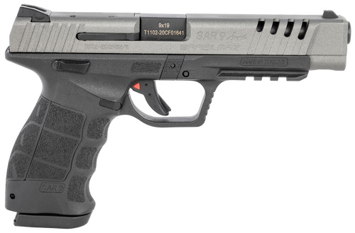 "SAR USA, SAR9 Sport, 9mm, Striker Fired Pistol, 5.2"" Barrel, Polymer Frame, Platinum, 17Rd"