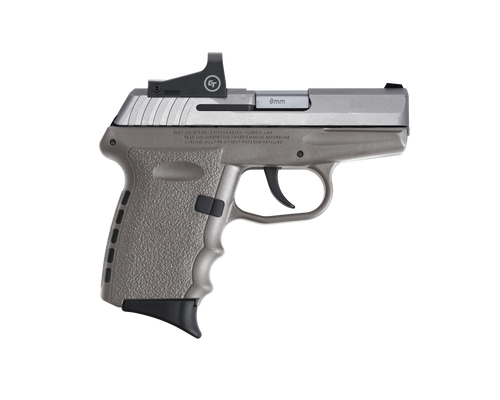 """SCCY CPX-2TTSGRD CPX-2, 9mm 3.10"""" BBL, Stainless Steel Slide, Gray Grip, NMS CTS-1500 Red Dot, 10+1"""
