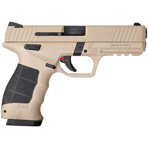 """SAR SAR9 Safari 9mm, 3.8"""" Barrel, Ambi Safety, 3-Dot Sights, FDE, 17rd"""