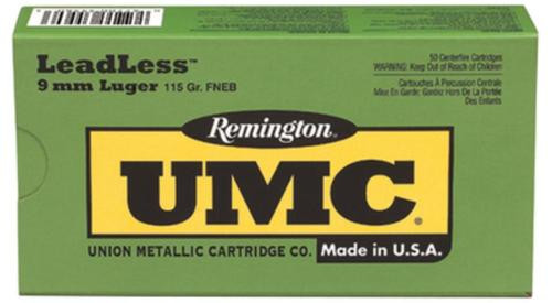 Remington UMC 9mm Flat Nose Enclosed Base 115gr, 50Box/10Case