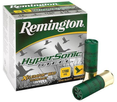 "Remington HyperSonic Steel 12 Ga, 3"", 1-1/4oz, 3 Shot, 25rd/Box"
