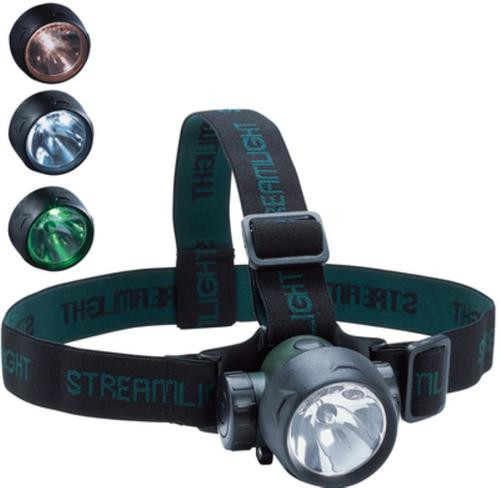 Streamlight Trident with (2) White and (1) Green LED with alkaline batteries. Rubber & Elastic straps. Green