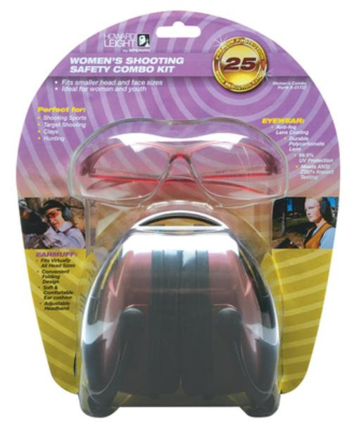 Howard Leight Women's Shooting Safety Combo Kit Includes Dusty Rose Earmuff (NRR25) and Clear Protective Eyewear