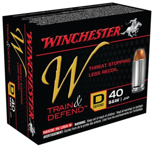 Winchester W Defend .40 SW 180 Gr, Jacketed Hollow Point, 20rd Box