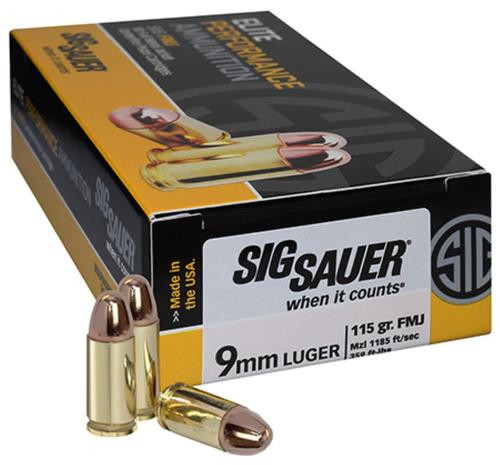 Sig Ammo 9MM 115Gr Elite Ball FMJ 50rd Bax