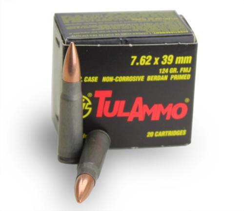 TulAmmo 7.62X39 124gr, FMJ, 20rd Box, 50rd Box