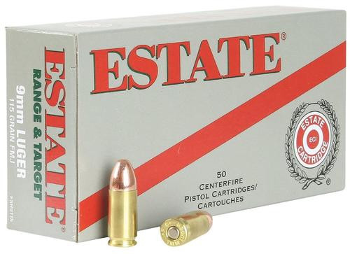 Estate Range 9mm 115gr, Full Metal Jacket, 50rd Box