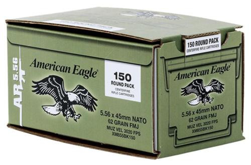 Federal American Eagle 5.56mm Lake City NATO 62gr, FMJ, 150rd/Bulk Pack, In Corrugated Box