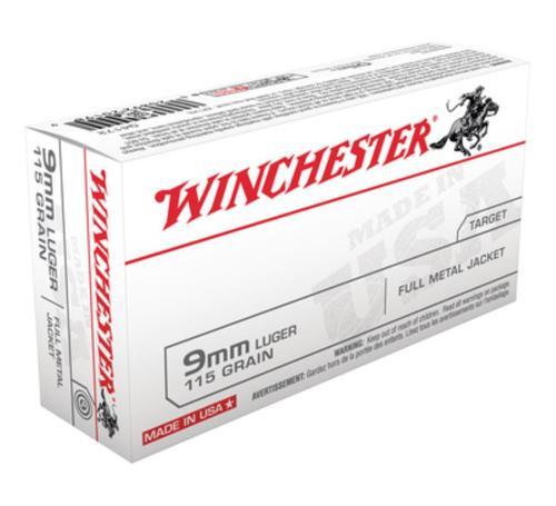 Winchester USA 9mm 124gr, Full Metal Jacket, 50rd Box