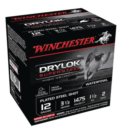Winchester Drylok Super Steel High Velocity Waterfowl Loads Plated,12 Gauge, 3.5 Inch, 1475 FPS, 1.5 Ounce, 2 Steel Shot, 25rd/Box