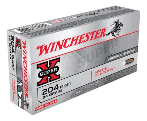 Winchester Super-X .204 Ruger, 34gr, Jacketed Hollow Point, 20rd Box