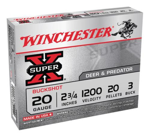 "Winchester Super-X Buckshot 20 ga 2.75"" 20 Pellets 3 Buck Shot 5rd Box"