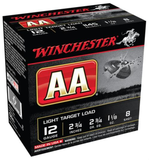 "Winchester AA Target 12 Ga, 2.75"", 1145 FPS, 1.125oz, 8 Shot, 250rd/Case"