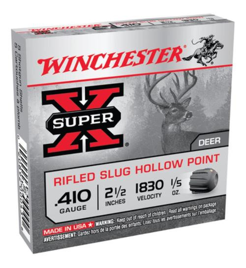 "Winchester Super-X Rifled Lead 410 Ga, 2.5"", 1/5oz, Slug, 5rd/Box"