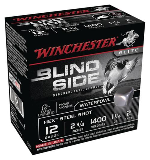 "Winchester Blind Side Steel Hex Magnum Waterfowl 12 Ga, 2.75"", 1400 FPS, 1.25oz, 2 Shot, 25rd/Box"