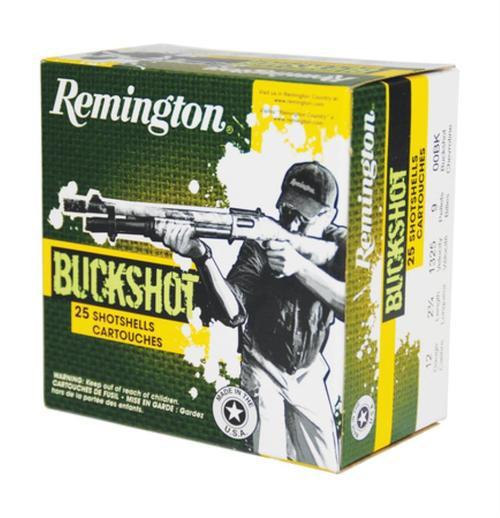 Remington Buckshot 12 Gauge 2.75 Inch 1325 FPS 9 Pellets 00 Buck 25 Per Box