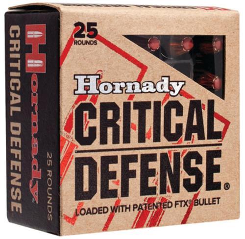 Hornady Critical Defense 380 ACP 90gr, Nickel-Plated Case, FTX, 25rd Box