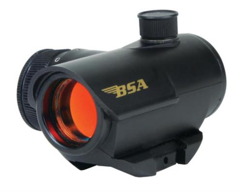 BSA Sporting Optics Illuminated Red Dot Sight Clam Packaged