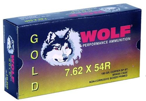 Wolf Gold 7.62x54mm Russian Jacketed Soft Point 180gr, 20Box