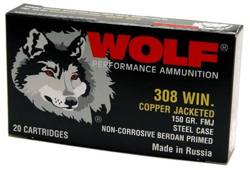Wolf Performance 308 Win/7.62 NATO 145gr, Full Metal Jacket, Steel Case, 500rd/Case