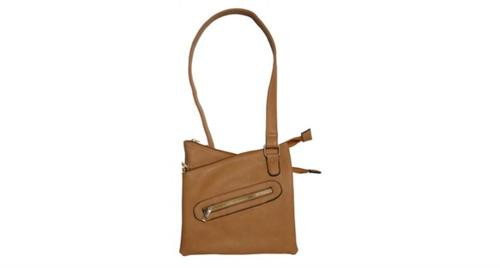Bulldog Cross Body Style Purse, Holster Tan Leather