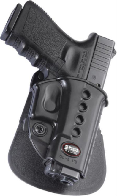 Fobus E2 Roto Paddle Holster, Fits Glock 17/19/22/23/31/32/34/35, Right Hand, Kydex, Black
